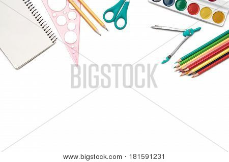 School and office supplies frame isolated on white