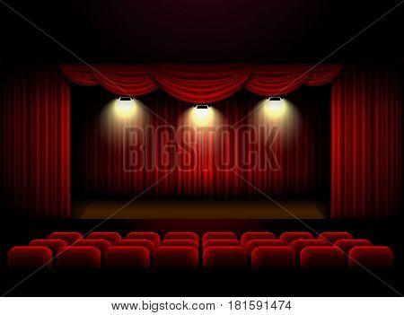 Theater stage curtain background spotlight Vector illustration