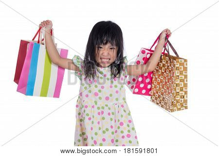 Asian Chinese Little Girl With Shopping Bags