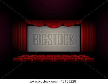 Theater cinema stage curtain background Vector illustration