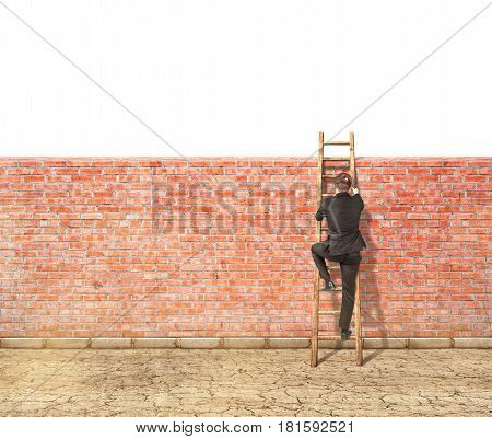 The concept of overcoming obstacles. A man climbs the stairs through a fence on white background.