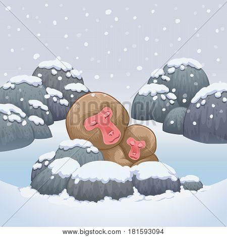 snow monkey japanese relaxing in onsen hot springs vector illustration