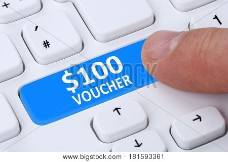 100 Dollar Voucher Gift Discount Sale Online Shopping E-commerce Internet Shop