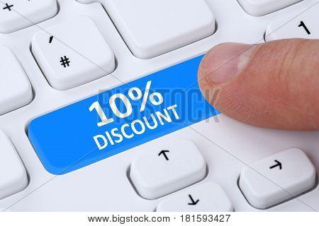 10% Ten Percent Discount Button Coupon Voucher Sale Online Shopping Internet Shop