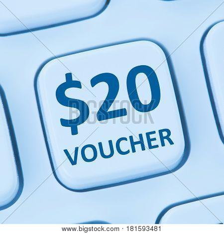 20 Dollar Voucher Gift Discount Sale Online Shopping Internet Store Shop