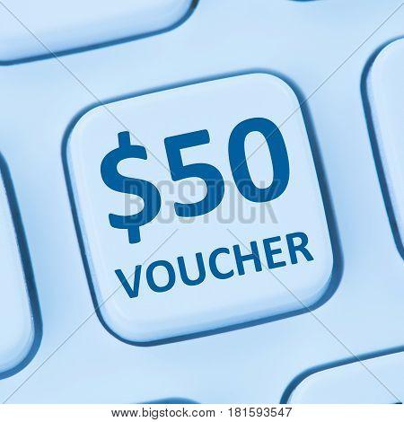 50 Dollar Voucher Gift Discount Sale Online Shopping Internet Store Shop