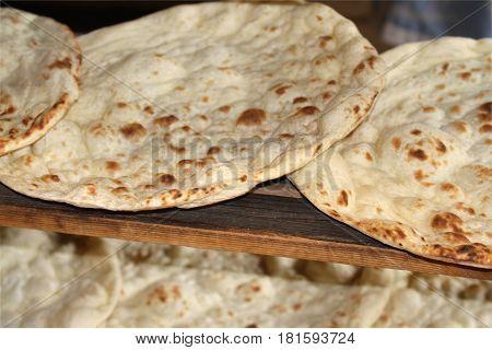 Turkish lavash bread. ( Turkish naan bread ) .