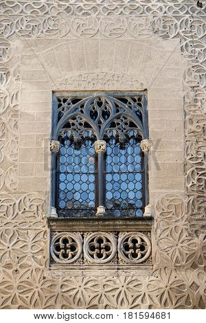 Segovia (Castilla y Leon Spain): facade of historic building in Plaza Medina del Campo: window
