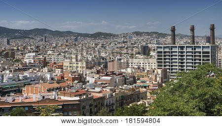Barcelona (Catalunya Spain): panoramic view from the hill of Montjuic (Montjuich)