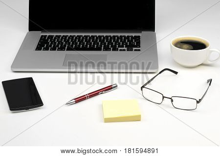 Working table , office life concept .