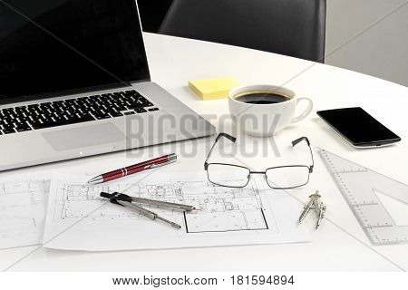 Working table of architect. Office life concept .