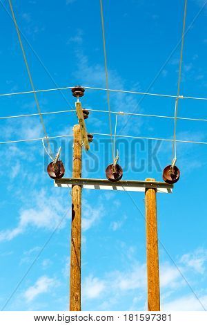 In Oman Wood Pylon Current Line