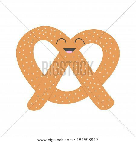 Soft pretzel icon. Sweet salted bakery Pastry. Cute cartoon smiling character with face eyes. Fast food snack. Isolated. White background. Flat design. Vector