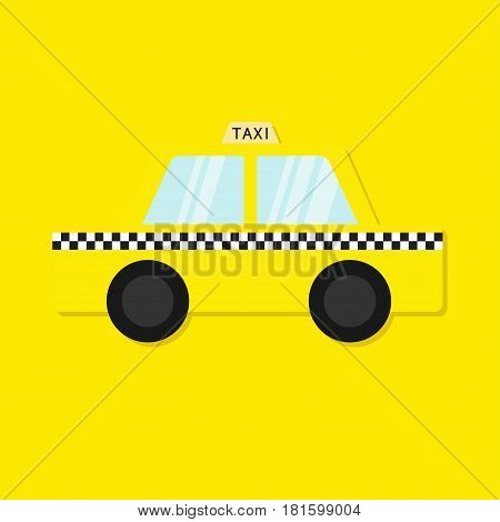 Taxi car cab icon. Cartoon transportation collection. Taxicab. Checker line light sign. New York symbol. Isolated. Yellow background. Vector illustration