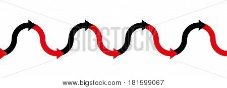 In the red - in the black - up and down arrow wave - business symbol for having losses or being in debt in the red and making profit or having positive income in the black - illustration seamless extensible in both directions.
