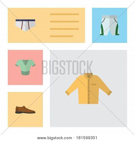 Flat Garment Set Of Casual, Banyan, Underclothes And Other Vector Objects. Also Includes Clothes, Underclothes, Underwear Elements.