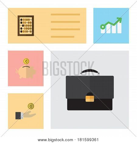 Flat Incoming Set Of Counter, Hand With Coin, Portfolio Vector Objects. Also Includes Portfolio, Abacus, Bank Elements.