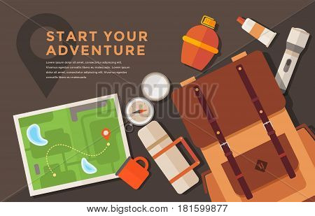 Flat vector banner on theme of hiking tourism. Outfit of traveler: backpack, thermos, map, mug, compass, lantern. Sports, adventures in nature, outdoor recreation.