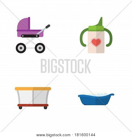 Flat Infant Set Of Bathtub, Playground, Nursing Bottle And Other Vector Objects. Also Includes Baby, Stroller, Nursing Elements.