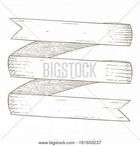 Ribbon band. Hand drawn sketch. Vector illustration isolated on white background