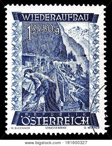 AUSTRIA - CIRCA 1948 : Cancelled postage stamp printed by Austria, that shows Gesäuse road.