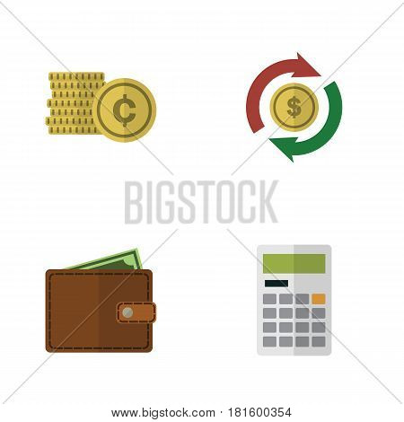 Flat Incoming Set Of Billfold, Interchange, Calculate And Other Vector Objects. Also Includes Wallet, Exchange, Swap Elements.