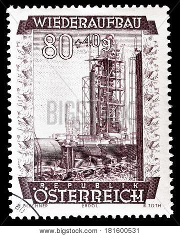 AUSTRIA - CIRCA 1948 : Cancelled postage stamp printed by Austria, that shows Oil refinery.