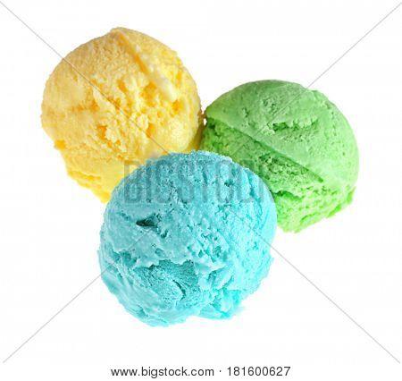 Scoops of tasty ice cream on white background