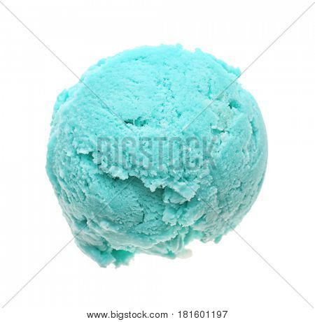 Scoop of mint ice cream on white background