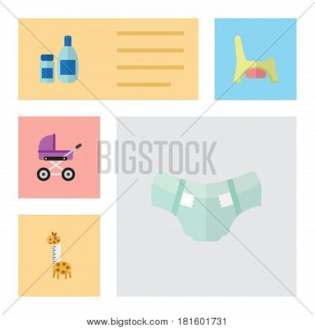 Flat Infant Set Of Toy, Cream With Lotion, Nappy And Other Vector Objects. Also Includes Toy, Cream, Potty Elements.