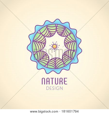Vector logo of nature on vintage background. Linear circle icon of landscape with trees and sun. Business emblem, badge for a travel, farming and ecology concepts, health and yoga Center.