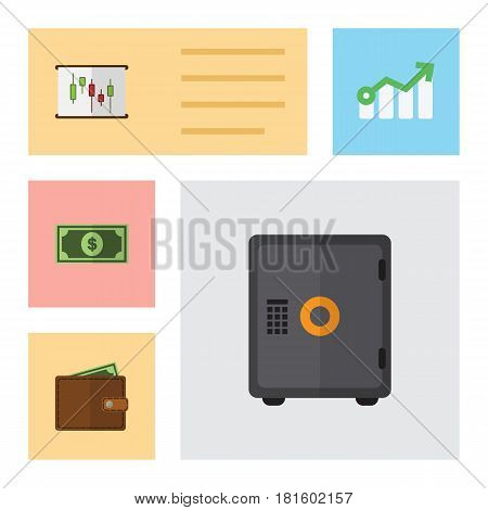 Flat Exchequer Set Of Growth, Billfold, Strongbox And Other Vector Objects. Also Includes Diagram, Wallet, Safe Elements.