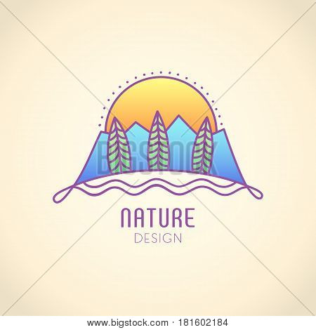 Vector logo of nature on vintage background. Linear icon of landscape - mountains, trees, sun. Business emblem, badge for a travel, alternative medicine and ecology concepts, health and yoga Center.