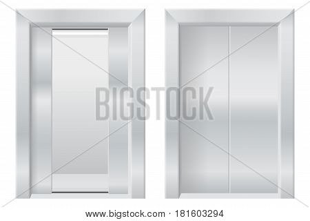 Modern elevator with open and closed doors. Vector illustration isolated on white background