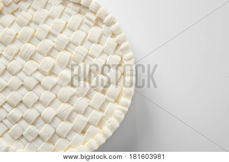 Delicious plain cheesecake on white background
