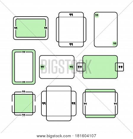 Set of quotation box with frame and comma marks. Stock vector illustration for modern posters and banners sayings and proverb decoration.