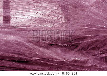 Pink Color Plastic Wrap Surface.