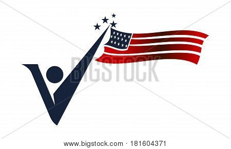 American Independence day Initial V Nasionalism Vector