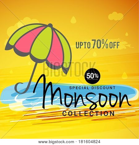 Illustration of poster or banner for Happy Monsoon offer.