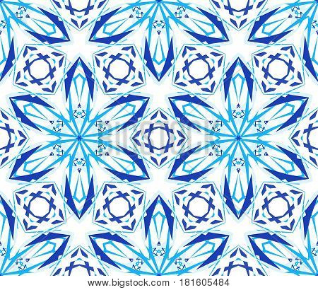 Kaleidoscope Pattern. Seamless blue background. Mandala geometric graphic print. Psychedelic design element for wallpaper, scrapbooking, fabric. Lotos flower vector illustration