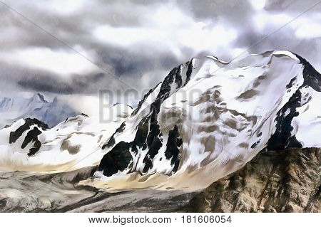 Colorful mountain scape painting with snowy rocks and cloudy sky