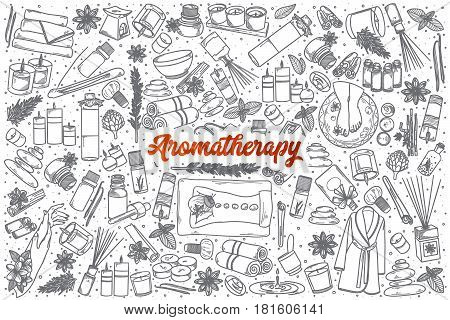 Hand drawn Aromatherapy doodle set background with red lettering in vector
