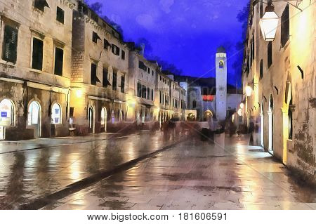 Colorful painting of old town in the evening,  Dubrovnik, Croatia