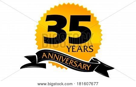 35 Years Ribbon Anniversary Congratulation Celebration Ceremony