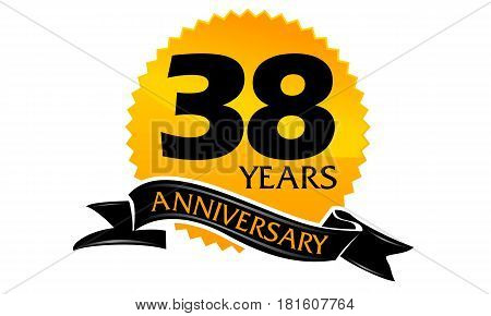 38 Years Ribbon Anniversary Congratulation Celebration Ceremony