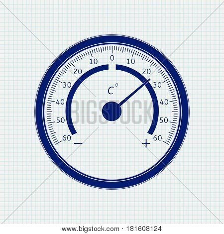 Round thermometer. Blue icon on notebook sheet background. Vector illustration