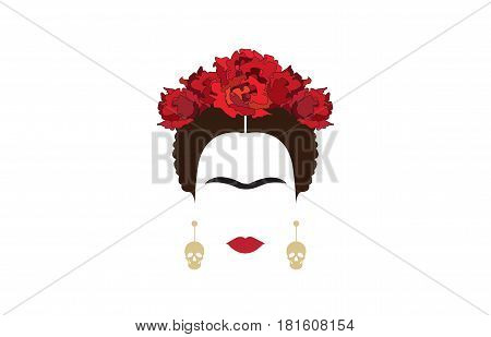 portrait of modern Mexican woman with skull earrings,inspiration Frida Kahlo,vector illustration with background transparent