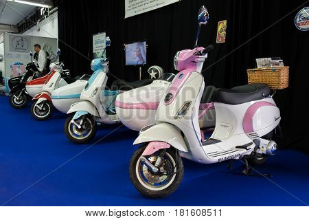 Piaggio Vespa Scooter And Sidecar Displayed In Tel-aviv. Israel