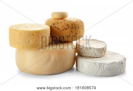 Set of various cheeses on white background