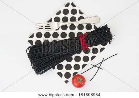 Black spaghetti with cuttlefish ink for seafood. Studio Photo